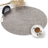 PVC Oval Shape Dining Table Mat Heat Insulation Non-Slip Placemats Disc Bowl Tableware Pads (Linen)