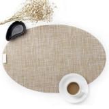 PVC Oval Shape Dining Table Mat Heat Insulation Non-Slip Placemats Disc Bowl Tableware Pads (Jam orange)