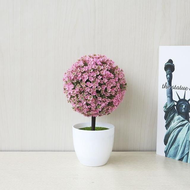 Desktop Simulation Plant Mini Grass Ball Bonsai Decorated Plastic Flower Cherry Blossom Snowball Artificial Flowers (Pink)