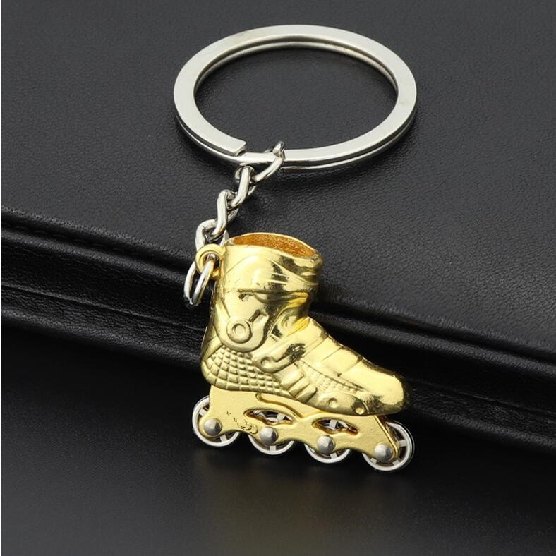 Creative Simulation Skates Keychain Personalized Pendant Gift (Gold)