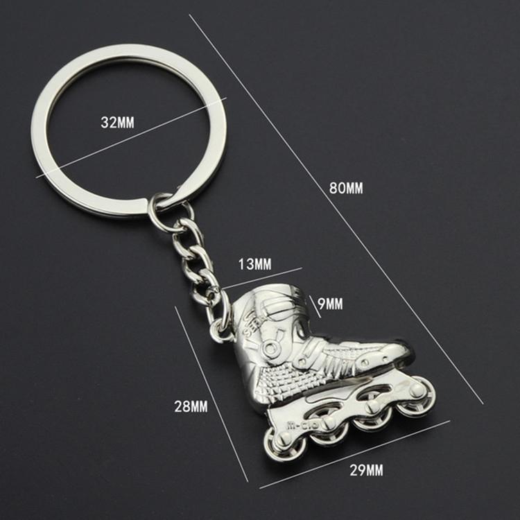 Creative Simulation Skates Keychain Personalized Pendant Gift (Silver)