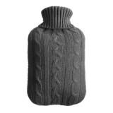 Hot Water Bottle Solid Color Knitting Cover (Without Hot Water Bottle) Water-filled Hot Water Soft Knitting Bottle Velvet Bag (Deep grey)