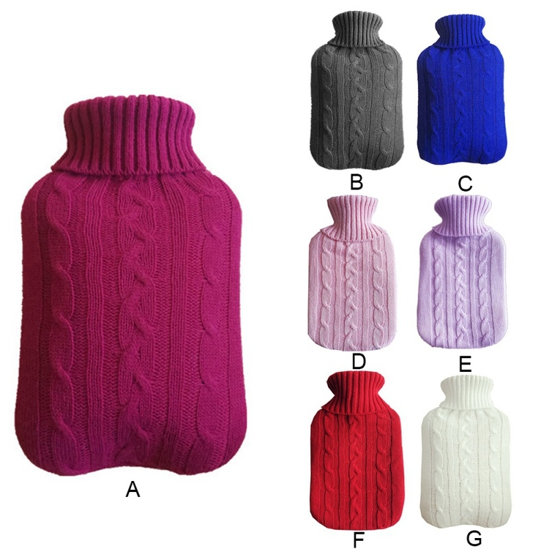 Hot Water Bottle Solid Color Knitting Cover (Without Hot Water Bottle) Water-filled Hot Water Soft Knitting Bottle Velvet Bag (Deep grey)