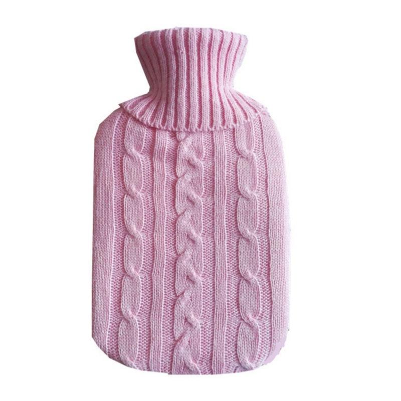 Hot Water Bottle Solid Color Knitting Cover (Without Hot Water Bottle) Water-filled Hot Water Soft Knitting Bottle Velvet Bag (Deep blue)