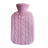 Hot Water Bottle Solid Color Knitting Cover (Without Hot Water Bottle) Water-filled Hot Water Soft Knitting Bottle Velvet Bag (Pink)