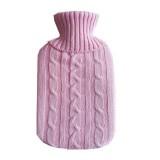 Hot Water Bottle Solid Color Knitting Cover (Without Hot Water Bottle) Water-filled Hot Water Soft Knitting Bottle Velvet Bag (Pink)