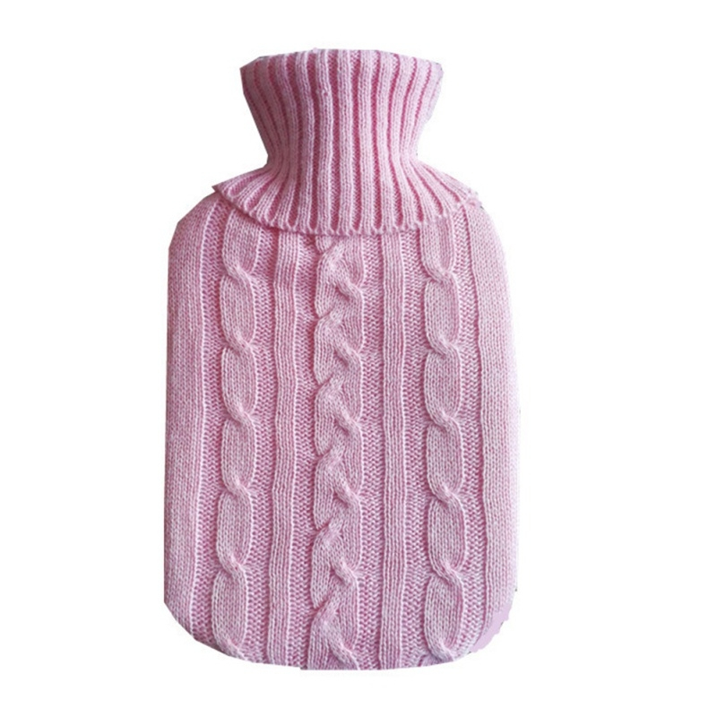 Hot Water Bottle Solid Color Knitting Cover (Without Hot Water Bottle) Water-filled Hot Water Soft Knitting Bottle Velvet Bag (Light purple)