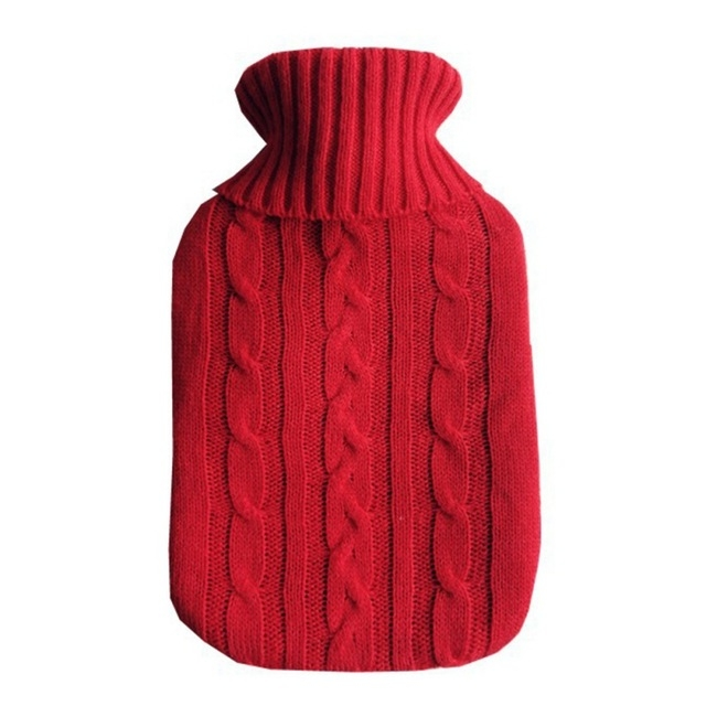 Hot Water Bottle Solid Color Knitting Cover (Without Hot Water Bottle) Water-filled Hot Water Soft Knitting Bottle Velvet Bag (Red)