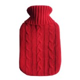 Hot Water Bottle Solid Color Knitting Cover (Without Hot Water Bottle) Water-filled Hot Water Soft Knitting Bottle Velvet Bag (Red)
