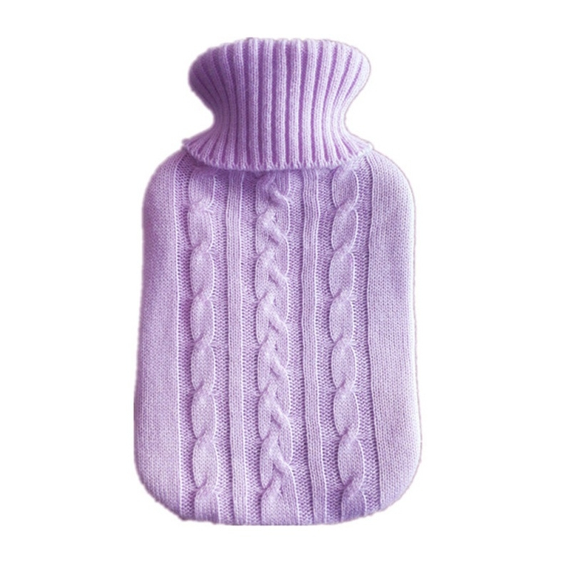 Hot Water Bottle Solid Color Knitting Cover (Without Hot Water Bottle) Water-filled Hot Water Soft Knitting Bottle Velvet Bag (Coral velvet blue water droplets)