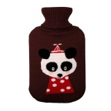 Hot Water Bottle Solid Color Knitting Cover (Without Hot Water Bottle) Water-filled Hot Water Soft Knitting Bottle Velvet Bag (Brown small mouse)