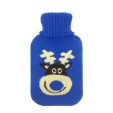 Hot Water Bottle Solid Color Knitting Cover (Without Hot Water Bottle) Water-filled Hot Water Soft Knitting Bottle Velvet Bag (Blue elk)