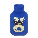 Hot Water Bottle Solid Color Knitting Cover (Without Hot Water Bottle) Water-filled Hot Water Soft Knitting Bottle Velvet Bag (Blue elk)