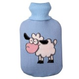 Hot Water Bottle Solid Color Knitting Cover (Without Hot Water Bottle) Water-filled Hot Water Soft Knitting Bottle Velvet Bag (Light blue small sheep)