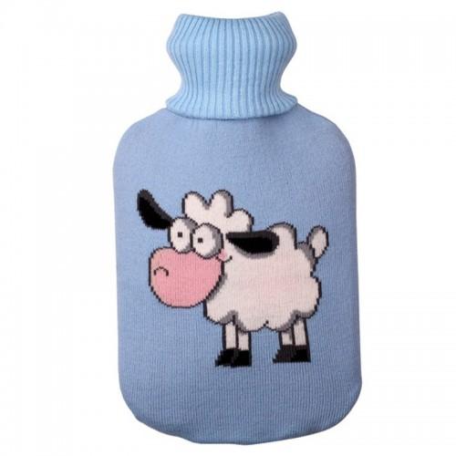 Hot Water Bottle Solid Color Knitting Cover (Without Hot Water Bottle) Water-filled Hot Water Soft Knitting Bottle Velvet Bag (Light blue small sheep)
