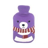 Hot Water Bottle Solid Color Knitting Cover (Without Hot Water Bottle) Water-filled Hot Water Soft Knitting Bottle Velvet Bag (Purple scarf bear)