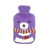 Hot Water Bottle Solid Color Knitting Cover (Without Hot Water Bottle) Water-filled Hot Water Soft Knitting Bottle Velvet Bag (Purple scarf bear)