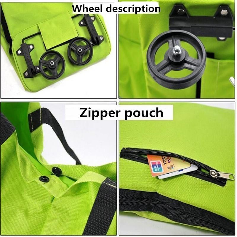 Reusable Folding Portable Shopping Bags Buy Vegetables Bag High Capacity Shopping Food Organizer Trolley Bag Wheels Bag Handbag (Green)