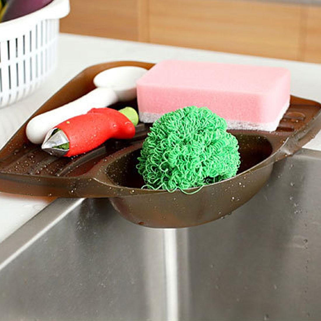 Practical Kitchen Sink Corner Storage Rack Sponge Holder Wall Mounted Tray (Green)