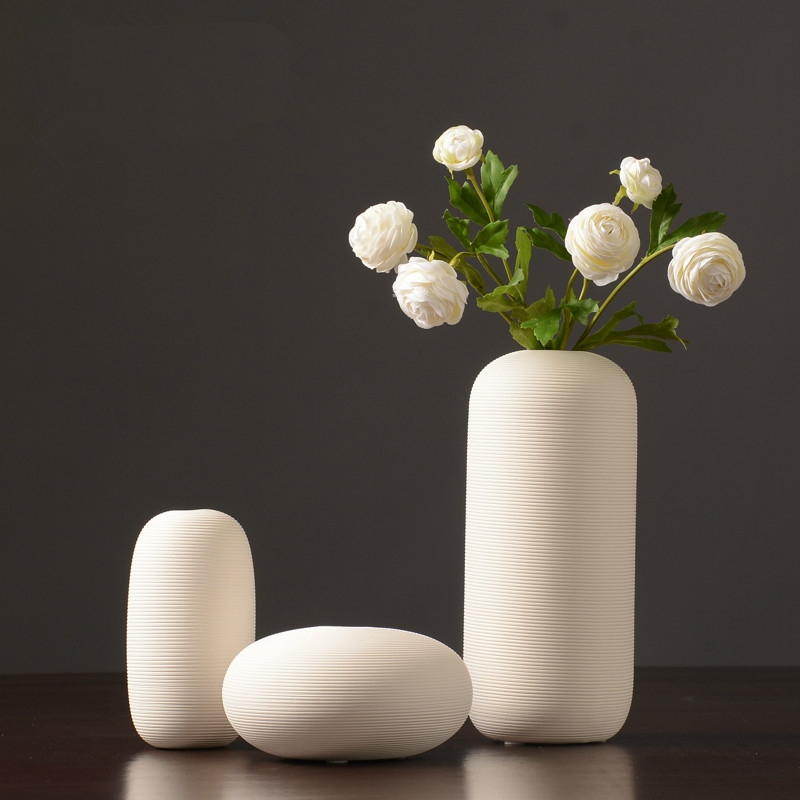 4 PCS Creativity Simple White Vases Ceramic Vases Home Decoration, Size: Medium