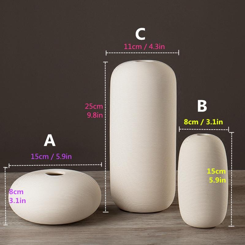 4 PCS Creativity Simple White Vases Ceramic Vases Home Decoration, Size: Small