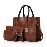 3 in 1 Leather Women Large Tote Bags Shoulder Bag Messenger Bag Purse (Brown)
