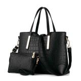 2 in 1 Vintage Messenger Bags Shoulder Handbag Women Crocodile Pattern Composite Bag Leather Wallet (Black)