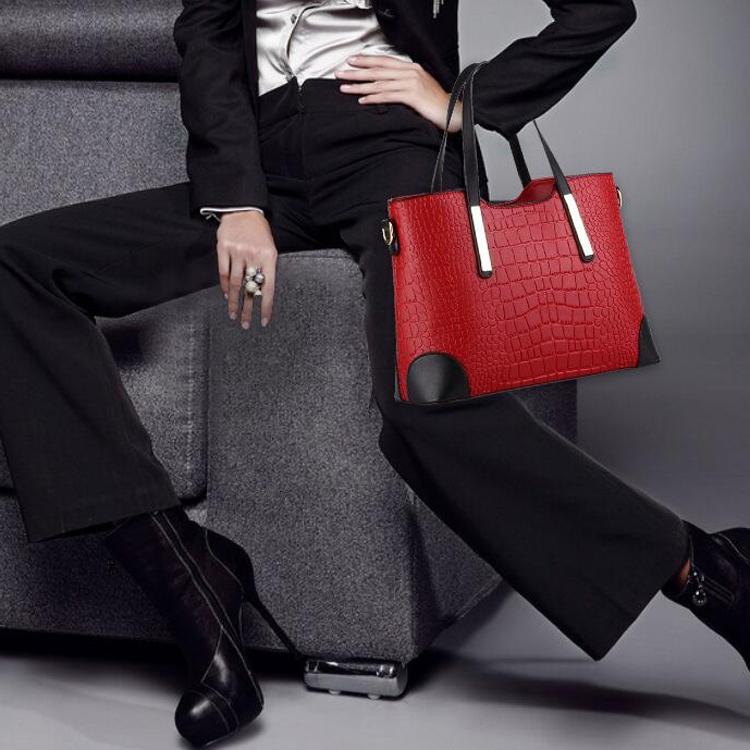 2 in 1 Vintage Messenger Bags Shoulder Handbag Women Crocodile Pattern Composite Bag Leather Wallet (Dark blue)