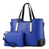 2 in 1 Vintage Messenger Bags Shoulder Handbag Women Crocodile Pattern Composite Bag Leather Wallet (Blue)
