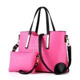 2 in 1 Vintage Messenger Bags Shoulder Handbag Women Crocodile Pattern Composite Bag Leather Wallet (Pink)