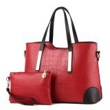 2 in 1 Vintage Messenger Bags Shoulder Handbag Women Crocodile Pattern Composite Bag Leather Wallet (Wine red)