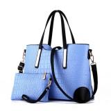 2 in 1 Vintage Messenger Bags Shoulder Handbag Women Crocodile Pattern Composite Bag Leather Wallet (Sky Blue)