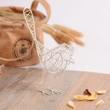 2 PCS Ldyllic Wrought Iron Bird Metal Gifts Crafts Table Home Decoration Handcraft Accessories (White)