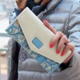 Fashion Ladies Leather Clutch Bag Purse Long Cartoon Wallet Coin Purse (Light Blue)