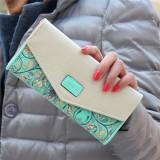 Fashion Ladies Leather Clutch Bag Purse Long Cartoon Wallet Coin Purse (Light Green)
