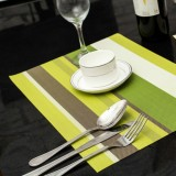 2 PCS Kitchen Dinning Table Placemat Napkins Heat Resistant PVC Stripe Mat Placemats Manteles Doilies Coaster Cup Pad (Green)