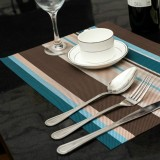 2 PCS Kitchen Dinning Table Placemat Napkins Heat Resistant PVC Stripe Mat Placemats Manteles Doilies Coaster Cup Pad (Blue)