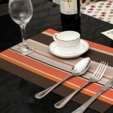 2 PCS Kitchen Dinning Table Placemat Napkins Heat Resistant PVC Stripe Mat Placemats Manteles Doilies Coaster Cup Pad (Orange)