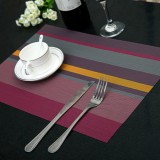 2 PCS Kitchen Dinning Table Placemat Napkins Heat Resistant PVC Stripe Mat Placemats Manteles Doilies Coaster Cup Pad (Purple)