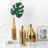 Gold Plated Vase Ceramic Flower Vase Water Planting Container Desktop Decorative Vase, Shape: Three-piece Suit