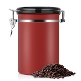 Coffee Container Stainless Steel Tea Storage Chests Black Kitchen Sotrage Canister Coffee Tea Caddies Teaware (Red)