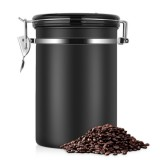 Coffee Container Stainless Steel Tea Storage Chests Black Kitchen Sotrage Canister Coffee Tea Caddies Teaware (Black)