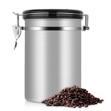 Coffee Container Stainless Steel Tea Storage Chests Black Kitchen Sotrage Canister Coffee Tea Caddies Teaware (Gray)
