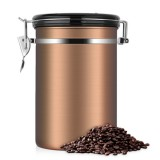 Coffee Container Stainless Steel Tea Storage Chests Black Kitchen Sotrage Canister Coffee Tea Caddies Teaware (Gold)