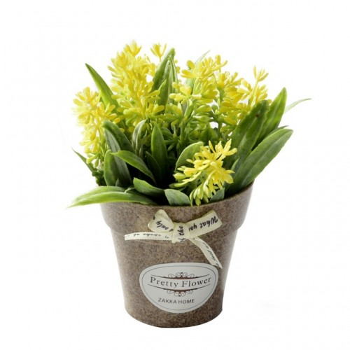 2 PCS Fake Flowers Grass With Plastic Artificial Potted Flowers For Rustic Garden Farmhouse Decoration (Yellow)