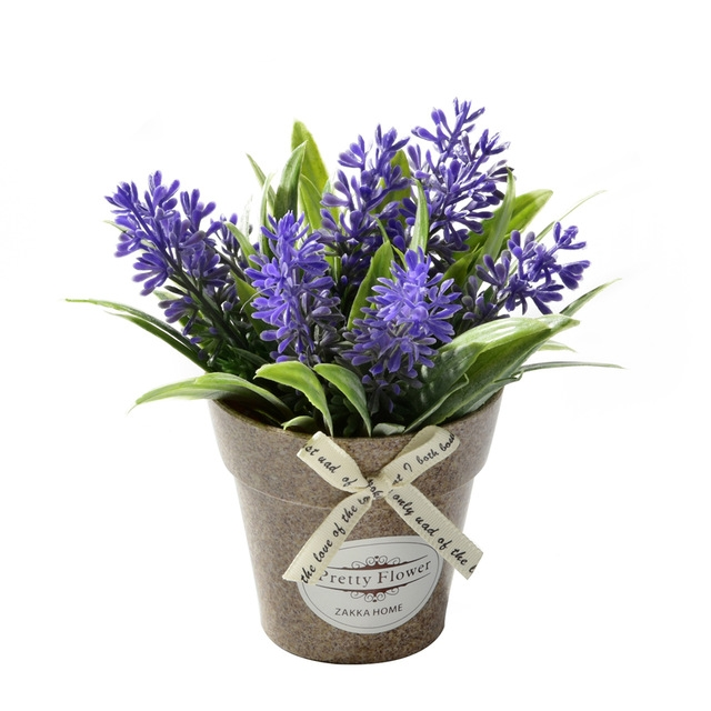 2 PCS Fake Flowers Grass With Plastic Artificial Potted Flowers For Rustic Garden Farmhouse Decoration (Purple)