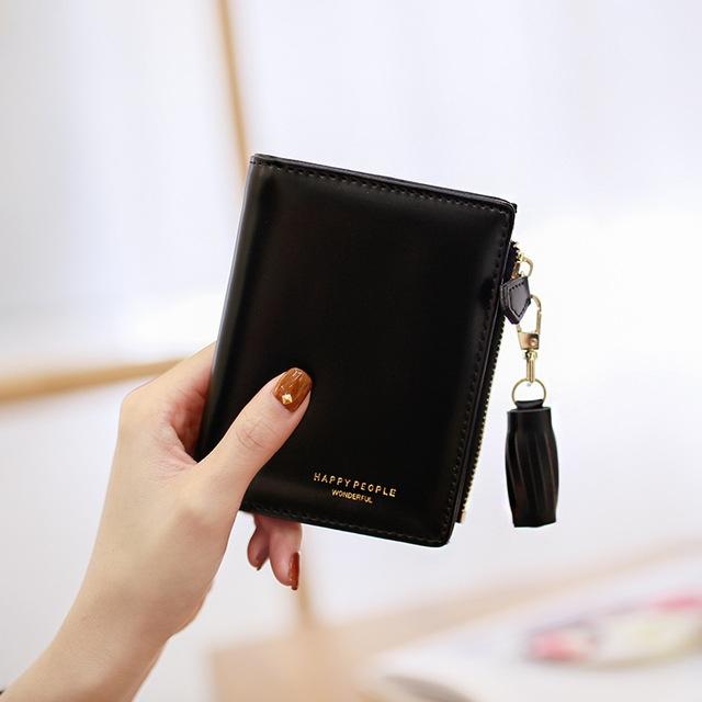 Brief Design Bifold Tassel Women Wallet PU Leather Short Credit Card Holder Purse (Pink)