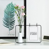 Wrought Iron Picture Frame Photo Frame Living Room Set Up Table Vase Office Room Home Decoration, Color: Black