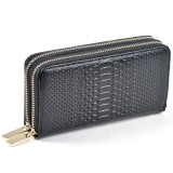 Women Long Wallet Genuine Leather Double Zipper Serpentine Embossing Clutch Bag Coin Purse Card Holder with Wristlet Strap (Black)