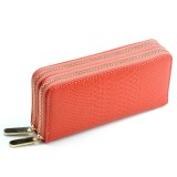 Women Long Wallet Genuine Leather Double Zipper Serpentine Embossing Clutch Bag Coin Purse Card Holder with Wristlet Strap (Watermelon Red)